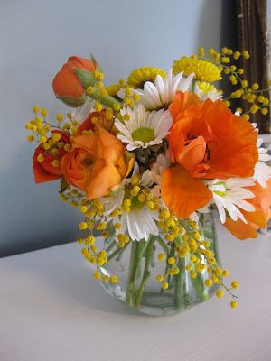 ranunculus orange yellow acacia wedding