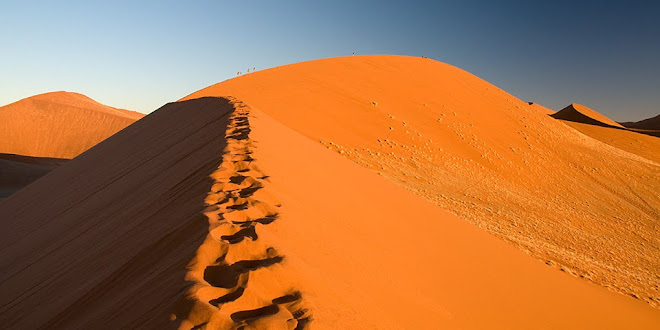 Climbers on Dune 45, Namib-Naukluft National Park, Namibia © Matt Prater