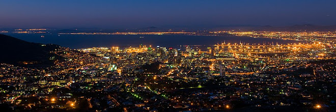 View from Table Mountain at night, Cape Town, South Africa © Matt Prater