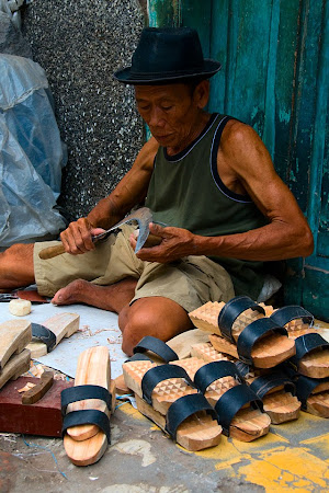 Man making wooden sandals, Surabaya, Java, Indonesia © Matt Prater