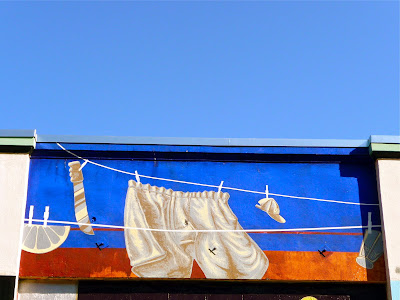 photo of street art in san francisco featuring underwear on a clothesline