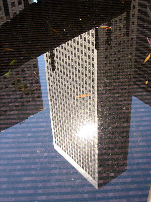photo of a reflection of a skyscraper in a pool in downtown San Francisco