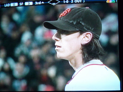 photo of a TV screen showing the San Francisco Giants' pitcher Tim Lincecum