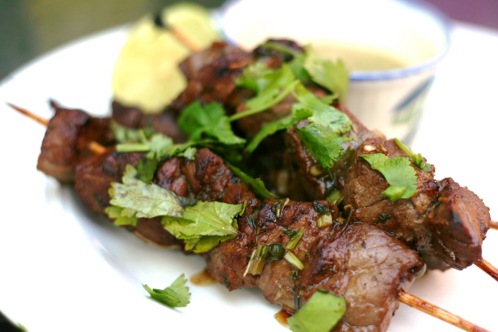 Antics of a cycling cook: Beef satay skewers with peanut dipping sauce