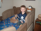 My Handsome Grandson, his Kitty and his Spiderman Quilt