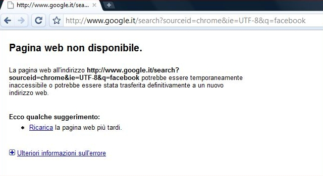 Errore DNS impossibile aprire pagina web