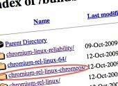 ภาพ:ค้นพบโฟลเดอร์หนึ่งโดยบังเอิญบน server ข้อมูลสำหรับดาวน์โหลด Chromium มีชื่อ Chrome OS อยู่ด้วย!(ตอนนี้โฟลเดอร์นี้ถูกลบไปแล้ว)
