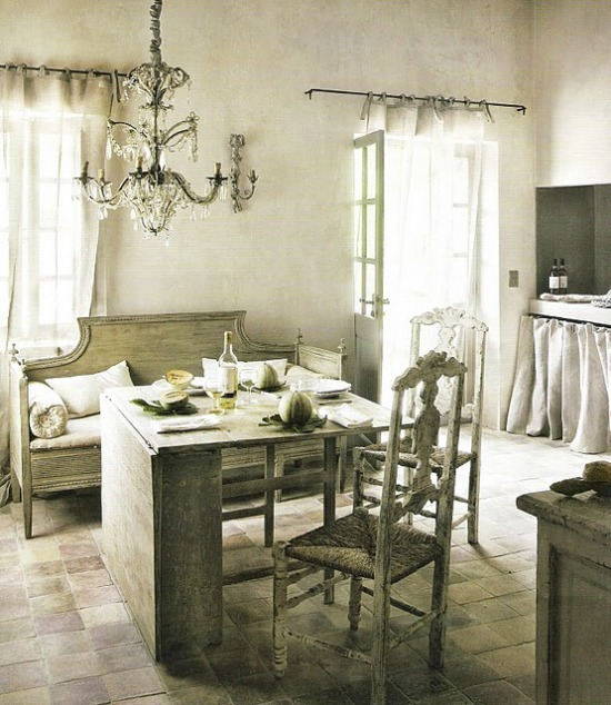 Vintage French Kitchen: La La Linen: Linen Benches