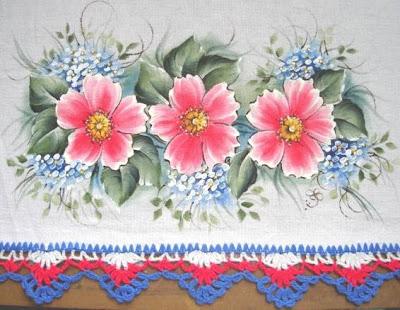 pintura em tecido pano de prato crochê