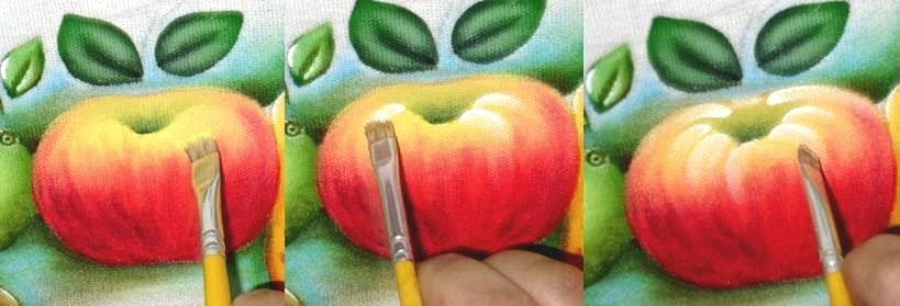 como pintar maça em tecido passo a passo