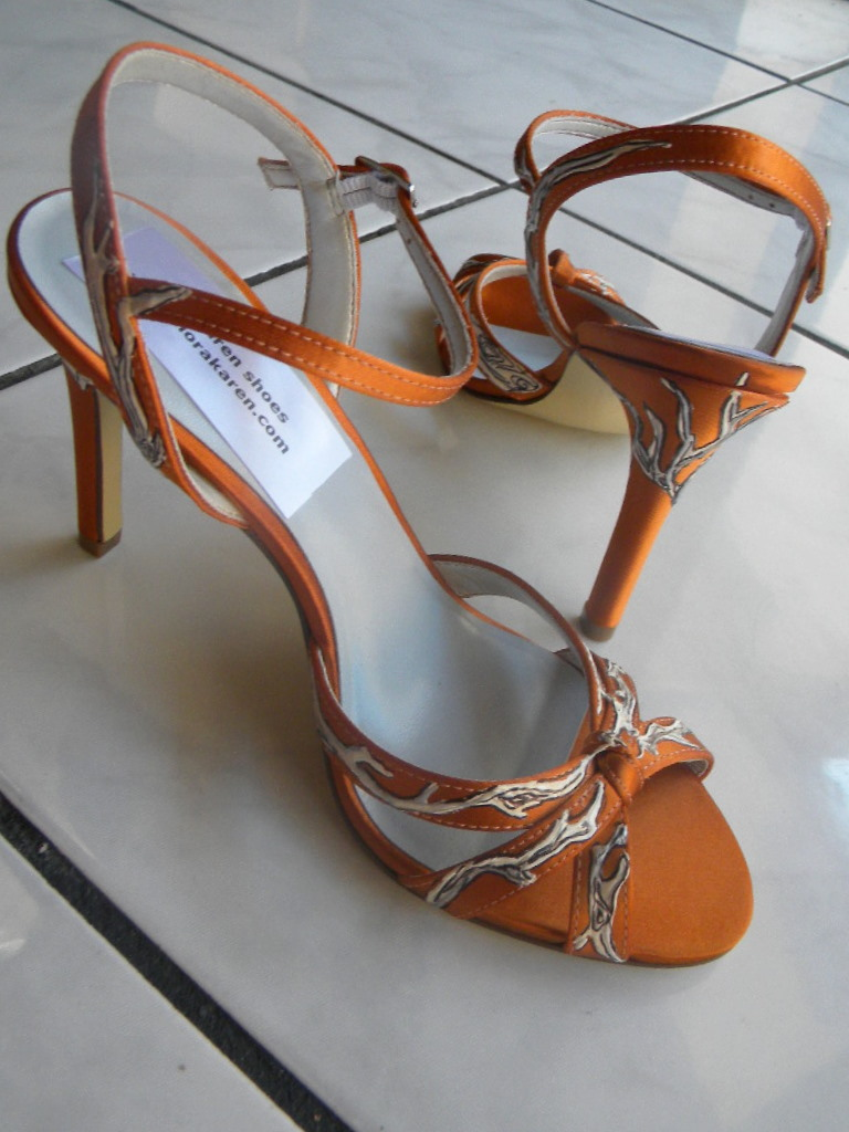 Shoes Bridal Fall Wedding Painted Driftwood Burnt Orange Sandals GINGER