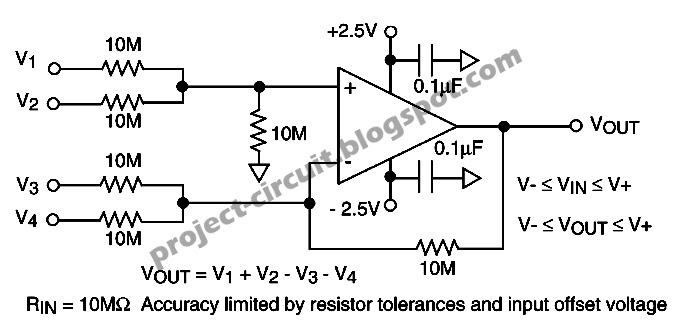free project circuit diagram  simple high input impedance dc summing amplifier using cmos