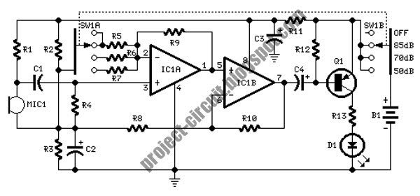 free project circuit diagram  room noise detector circuit