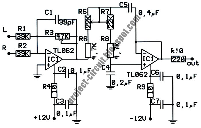 electronics technology  low pass filter subwoofer circuit