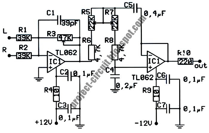 electronics technology  low pass filter subwoofer circuit