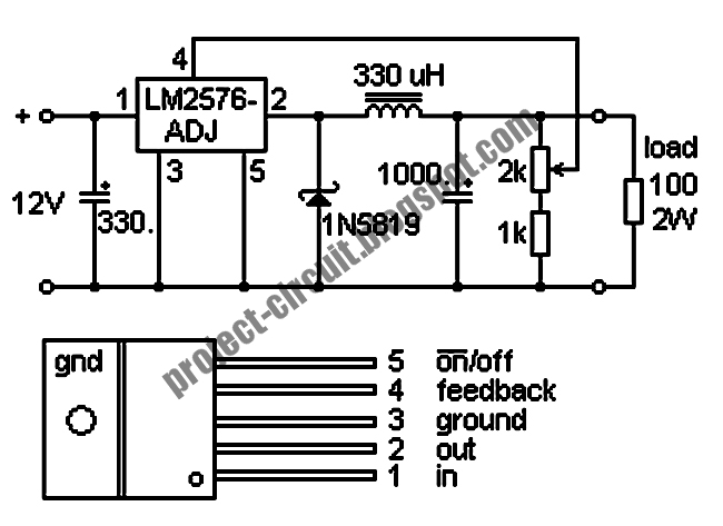 free project circuit diagram  lm2576 switching regulator circuit