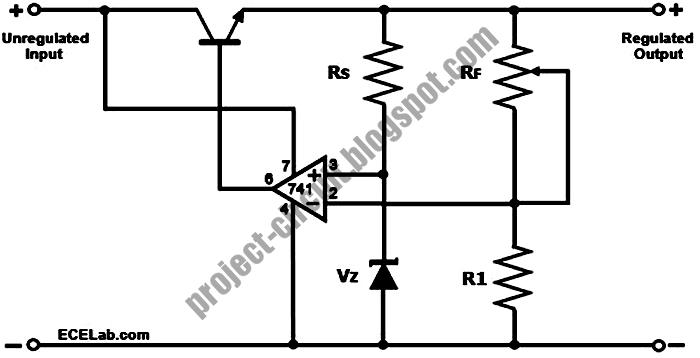 free project circuit diagram  op amp voltage regulator circuit