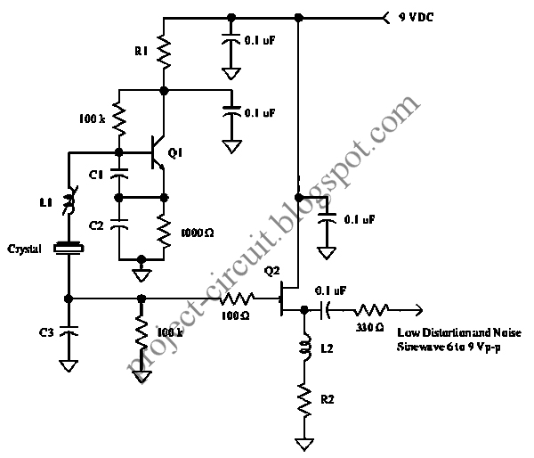 electronics technology  fet low distortion crystal oscillator circuit