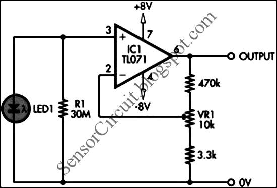 sensor schematic  tl071 jfet light sensor circuit