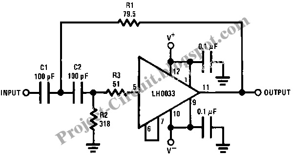 electronics technology  wide band two pole high pass filter circuit