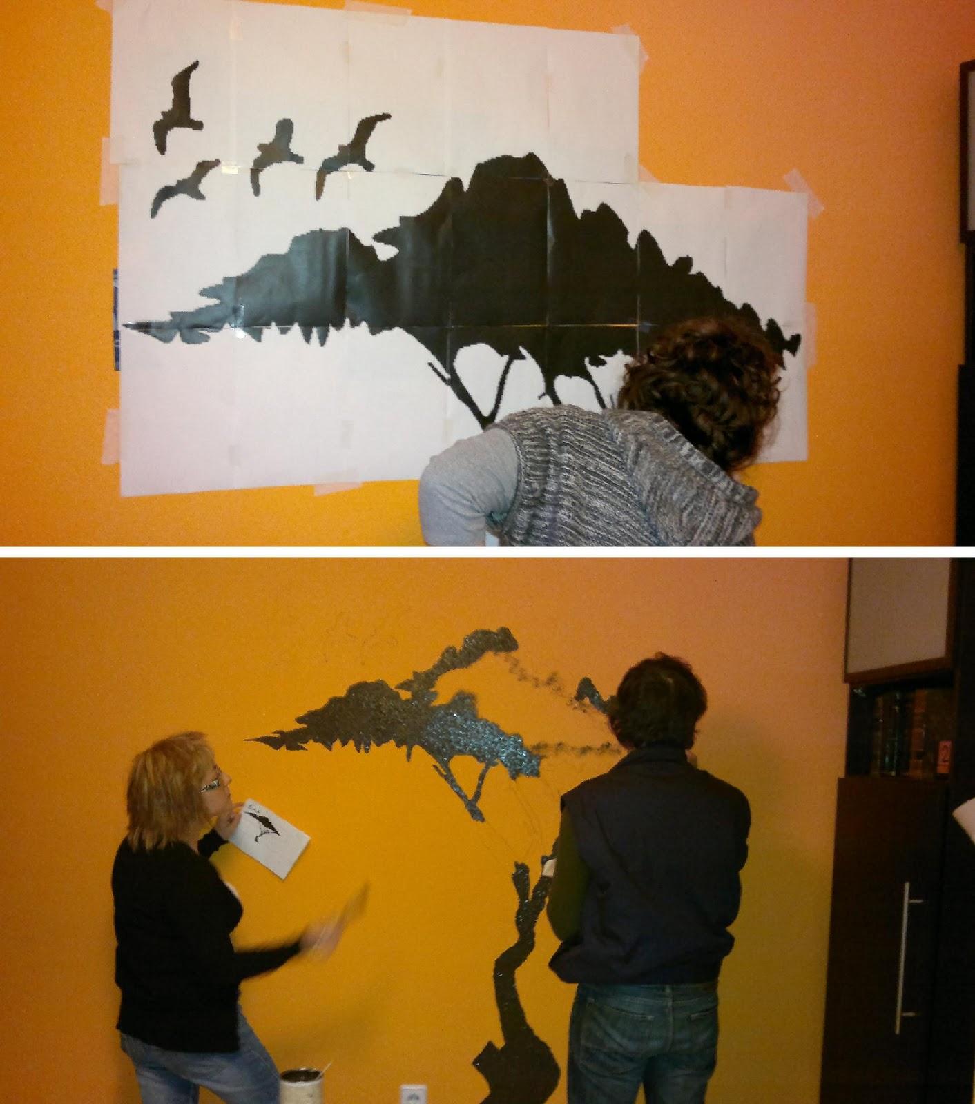 Otro mural tipo vinilo en pared de gotel paso a paso - Programa para pintar paredes ...