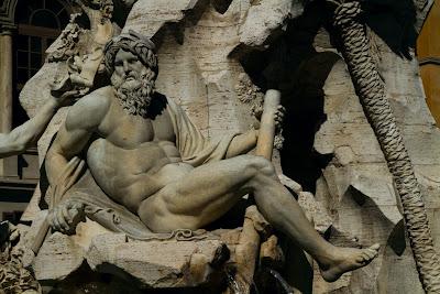 Detail of Bernini's Fontana Quattro Fiumi in Piazza Novona - Rome, Italy
