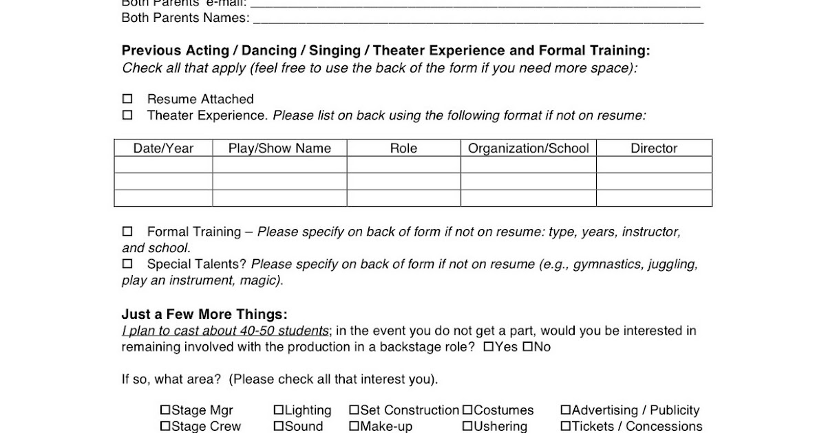Wyoming Middle School Theater Mulan Audition Form