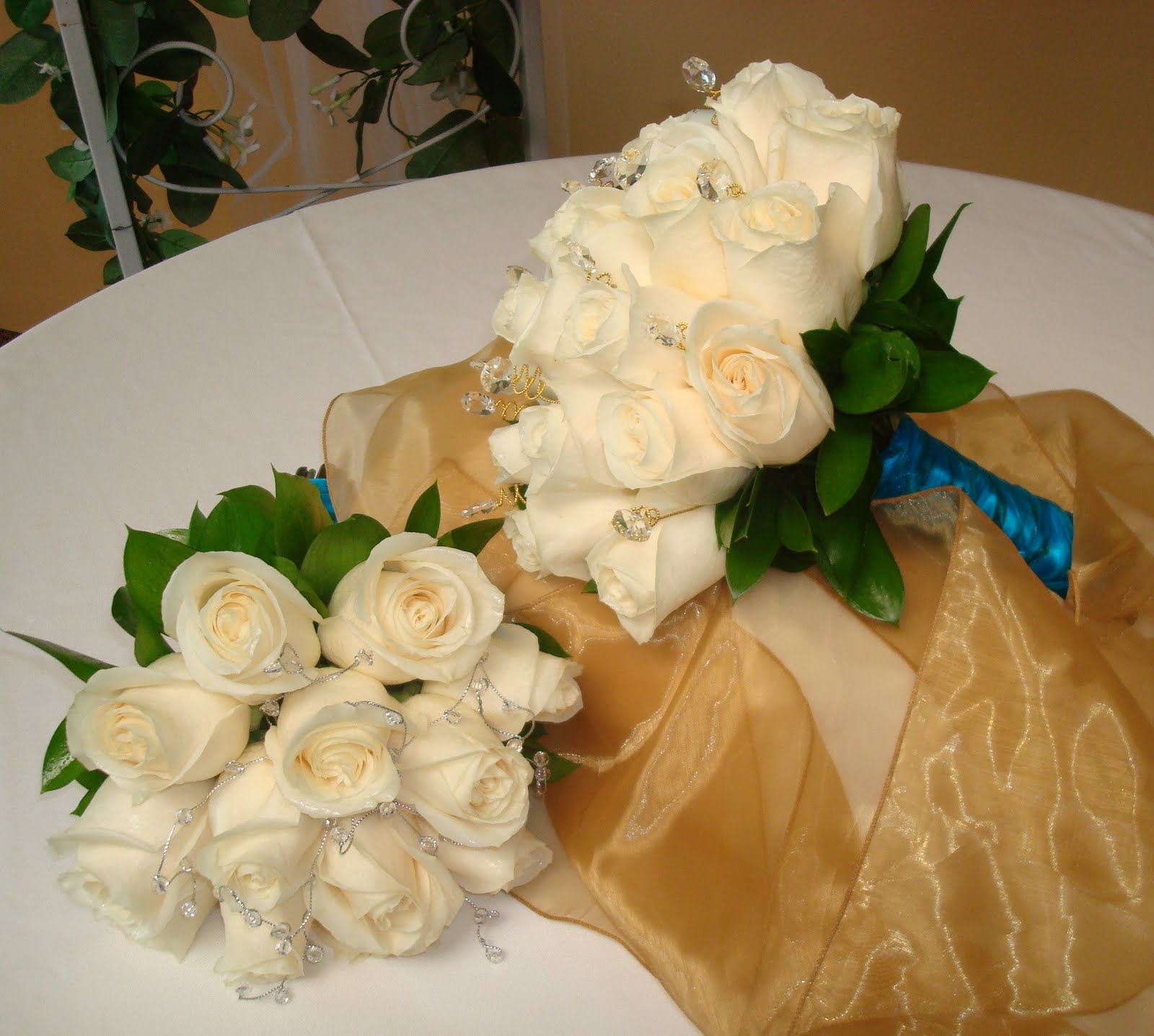 Bernardos Flowers Ivory Rose Virgin Mary Bouq Quinceanera Bouq