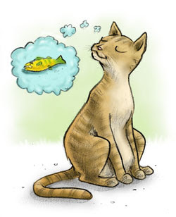 Danny Moore Illustration Cat Hankering Fish Dreaming Wishing