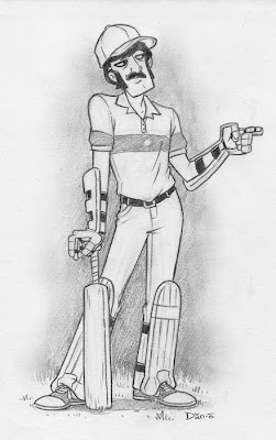 Danny Moore Illustration Cricketer Cricket Player