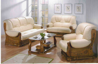 Wooden Sofa Set Designs Wood Leather Sofa Set