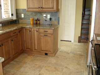 Kitchen Floor Tile Patterns Porcelain kitchen floor with slate tile backsplash