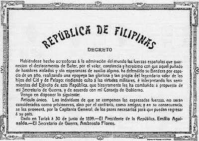 Decreto de Aguinaldo últimos soldados españoles en Baler, Filipinas