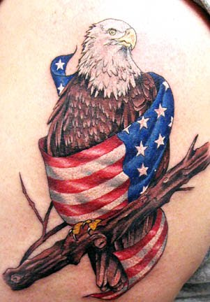 Eagle and American Flag Tattoo Concept Design