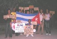 Miembros de PLNC exigiendo el Respeto de los Derechos Humanos