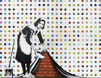 Intervenção de Banksy na obra de Damian Hirst: