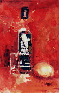 Merci mezcal gouache sur tirage photo, mixed media on photo print, still life, au-dessous du volcan, under the volcano