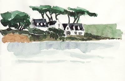 Maisons vues du port de Kernével Morbihan Bretagne Brittany Larmor-Plage Port-Louis île Saint-Michel aquarelle watercolor landscape paysage croquis sketch
