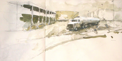 Boston, zone industrielle, industrial zone, Chelsea Street, aquarelle, watercolor, gouache