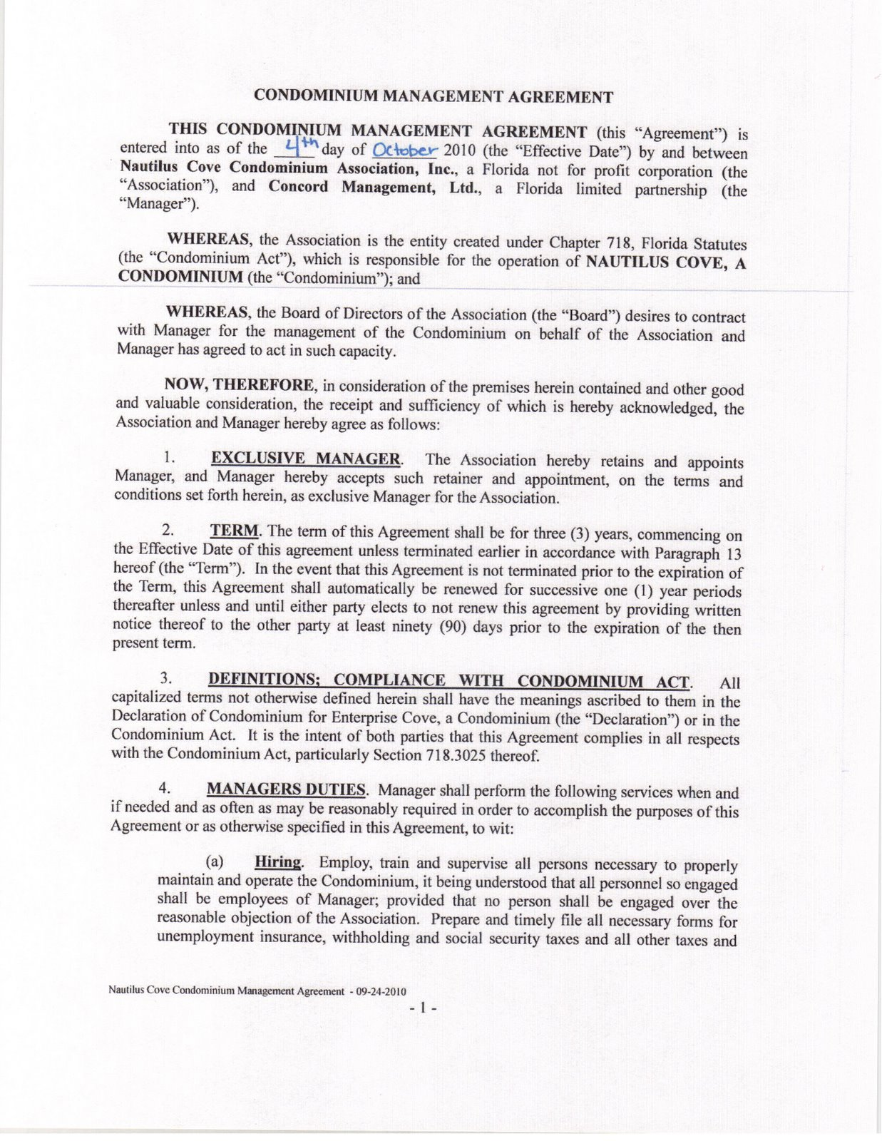 Nautilus Cove Condominium Concord Management Agreement Of Oct 4 2010