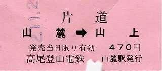 高尾登山電鉄 軟券乗車券
