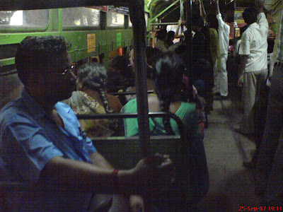 inside a MTC bus in Chennai