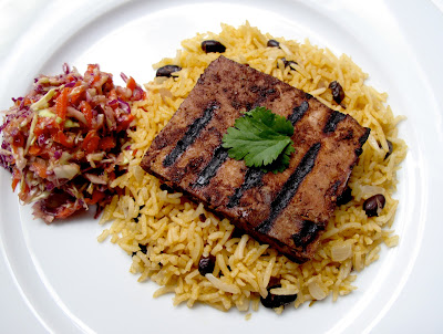Jerk Tofu with Caribbean Rice and Peas