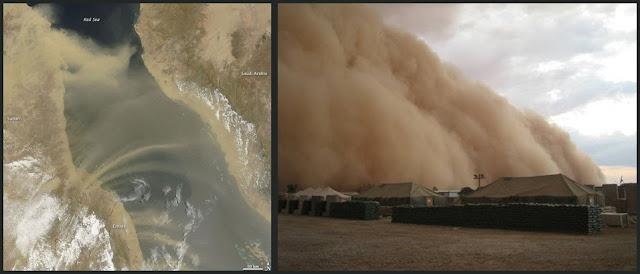 Tormenta de arena desde un satelite y desde una base militar