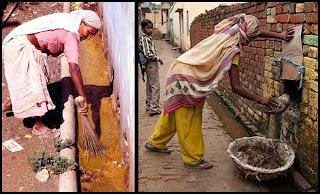 Protesta en India de limpiadores de sanitarios