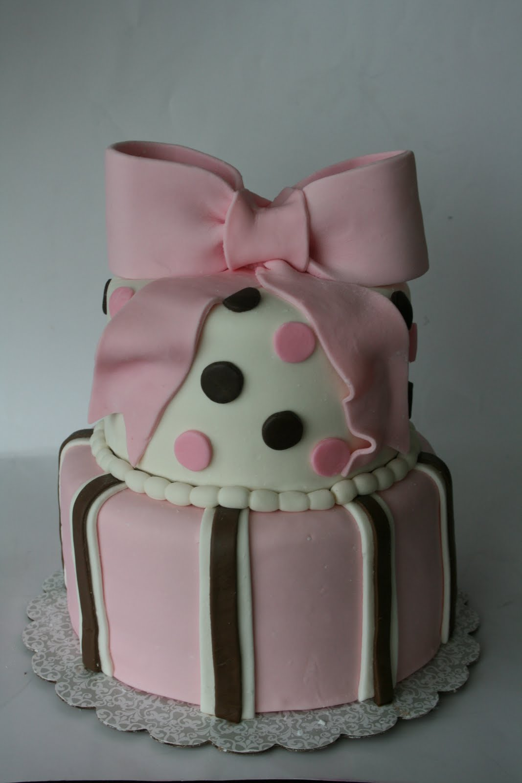 and everything sweet pink and brown baby shower cake
