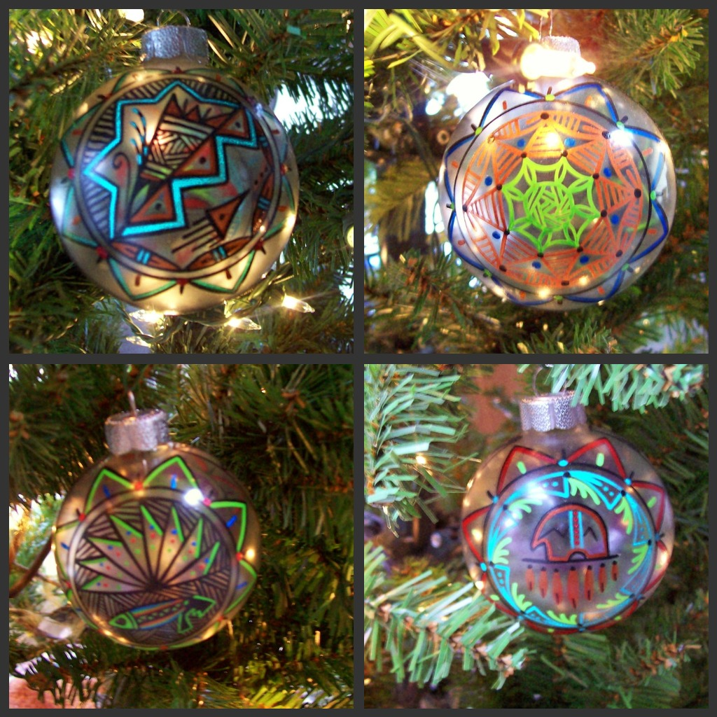Native american ornaments - A Christmas Tree With Handpainted Native American Design Ornaments Seems Only Fitting For Our Indian Summer Office I Love Our New Ornaments We Have For
