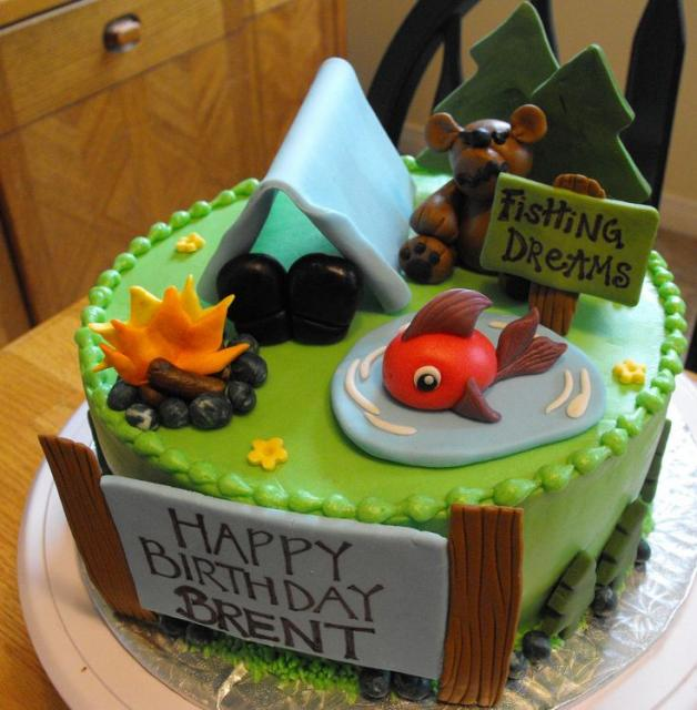 The best things in life are free camping anyone for Fishing themed birthday cakes