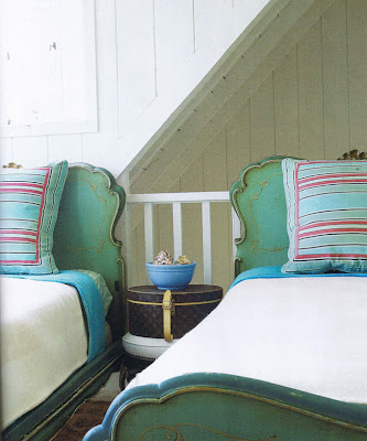 painted vintage bed. turquoise shabby chic bed