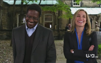 Covert Affairs Pilot episode screencaps Annie Walker Piper Perabo CIA agent images photos pictures screengrabs captures Russian professor teacher Dr. Mark Ramsay Clarke Peters university laugh